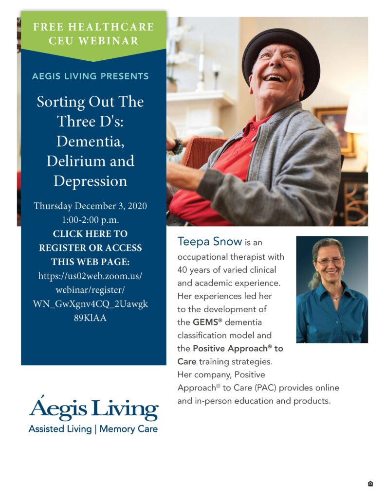 Join Us for Sorting out the Three D's: Dementia, Delirium and Depression | Aegis Living