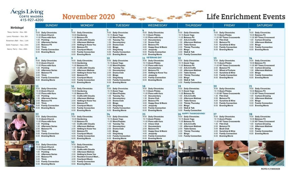 Corte Madera November Calendar