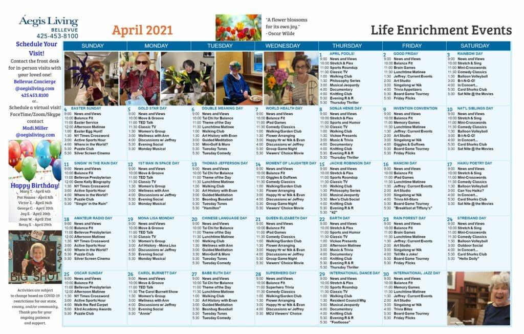 Bellevue AL Calendar - April 2021