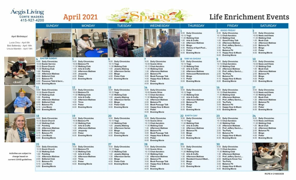 Corte Madera AL Calendar April 2021
