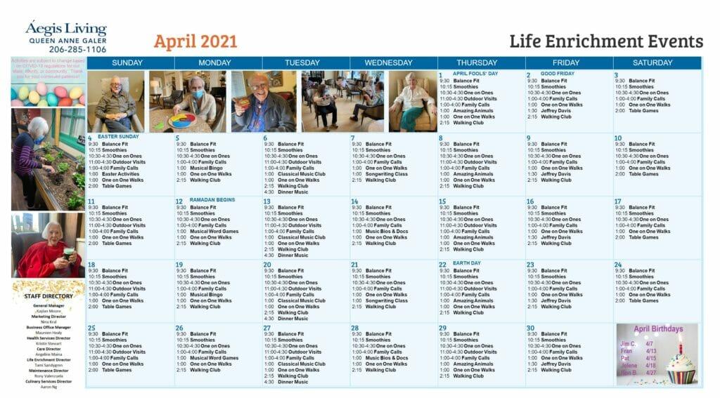 Galer AL Calendar - April 2021