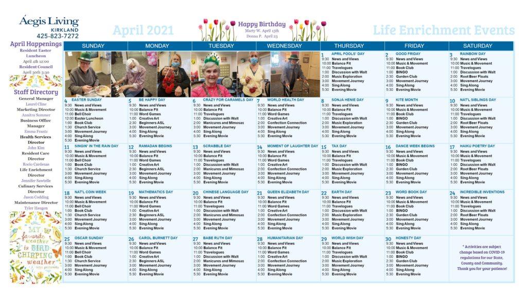 Kirkland AL Calendar - April 2021