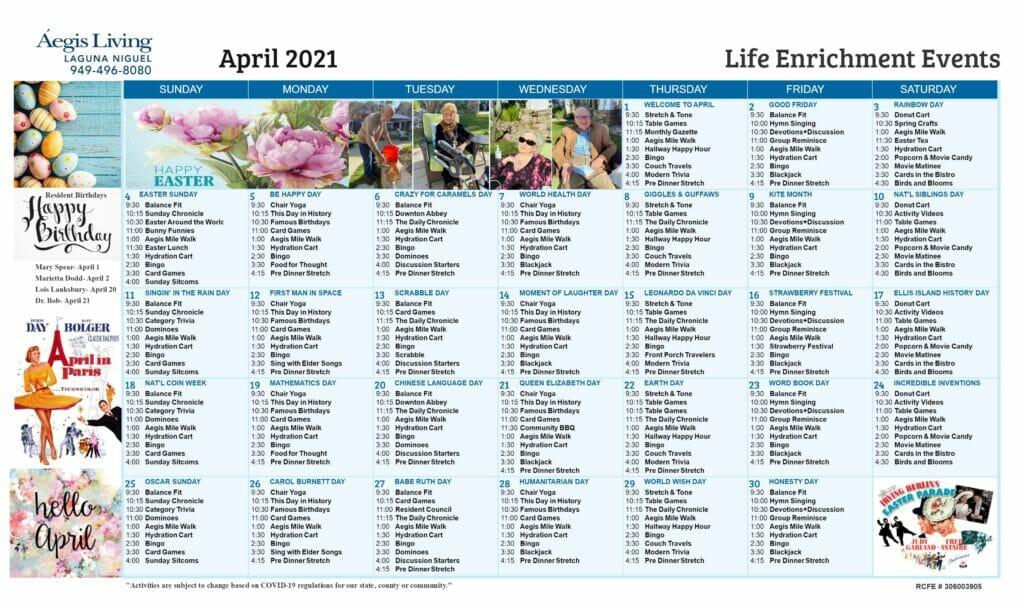 Laguna Niguel AL Calendar April 2021