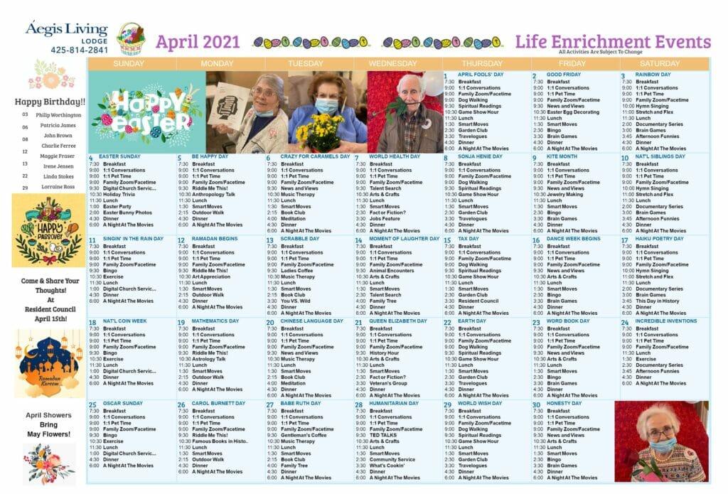 Lodge April 2021 Calendar