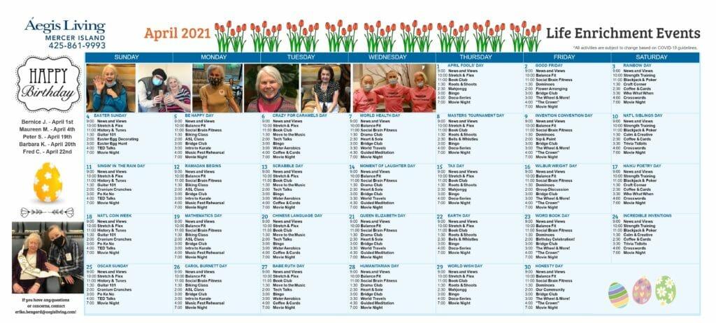 Mercer Island AL Calendar- April 2021