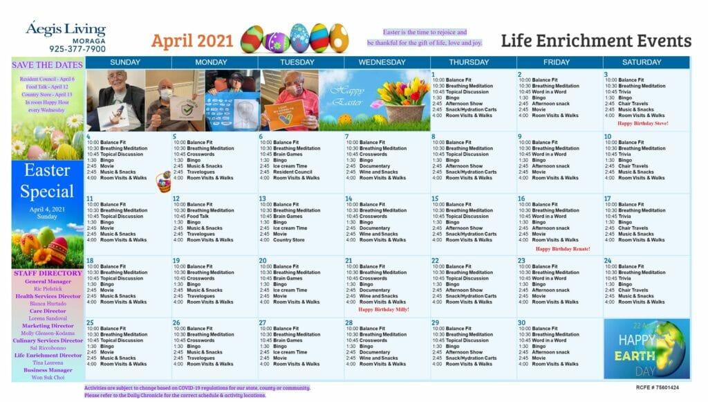 Moraga AL Calendar - April 2021