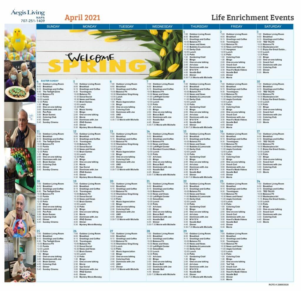 Napa AL Calendar - April 2021