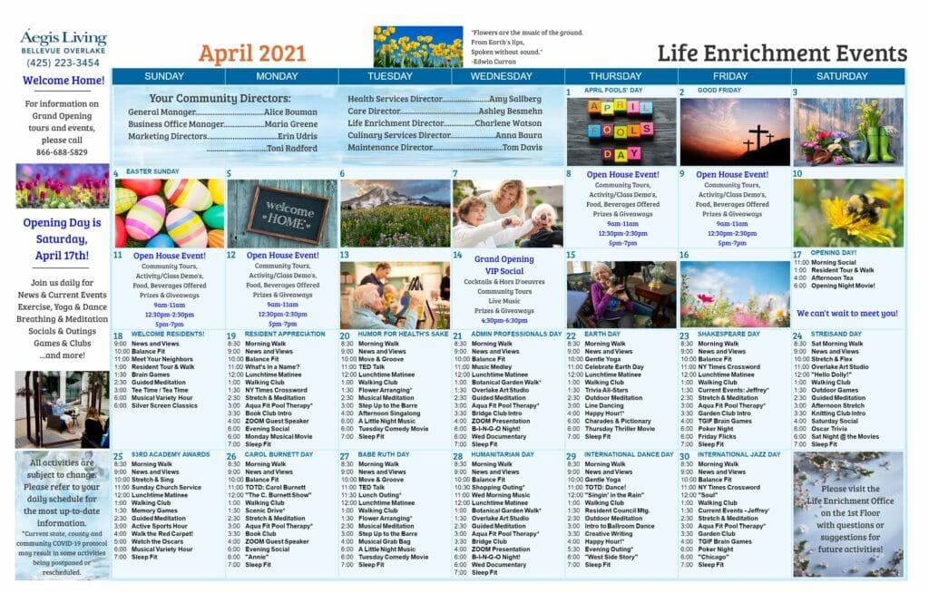 Bellevue Overlake AL Calendar - April 2021