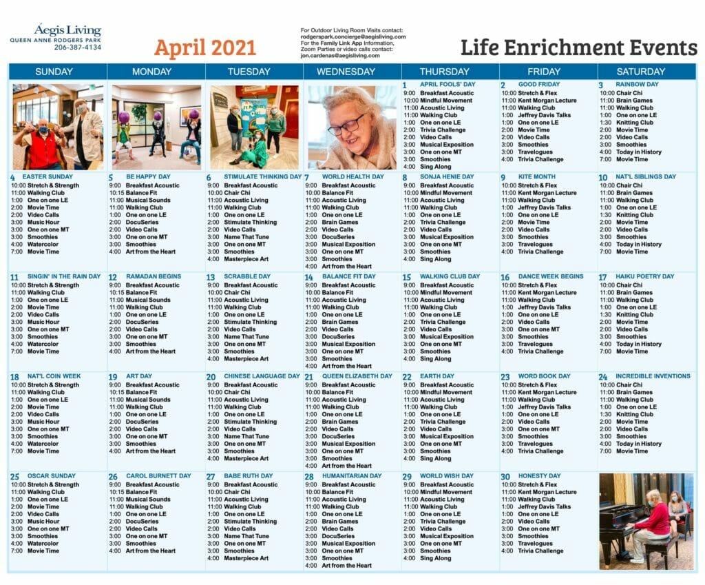 Queen Anne Rodgers Park April 2021 Calendar