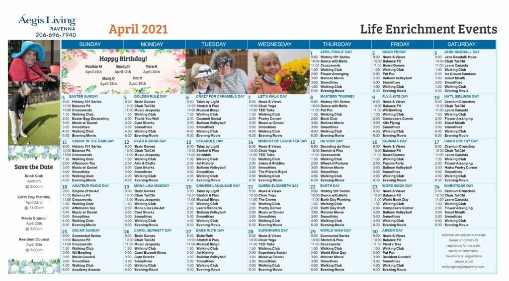 Ravenna AL Calendar - April 2021