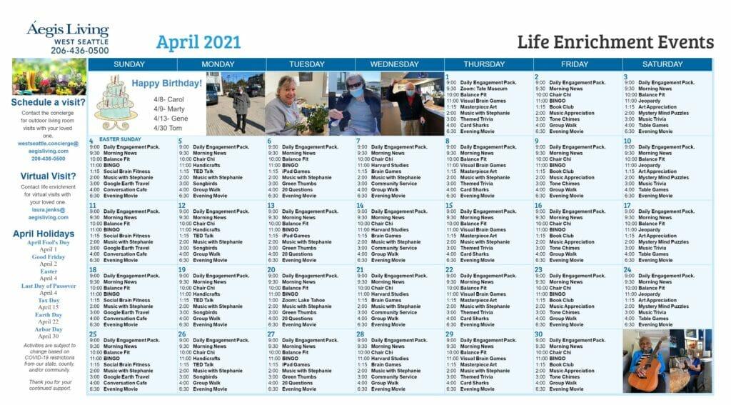 West Seattle- AL Calendar April 2021