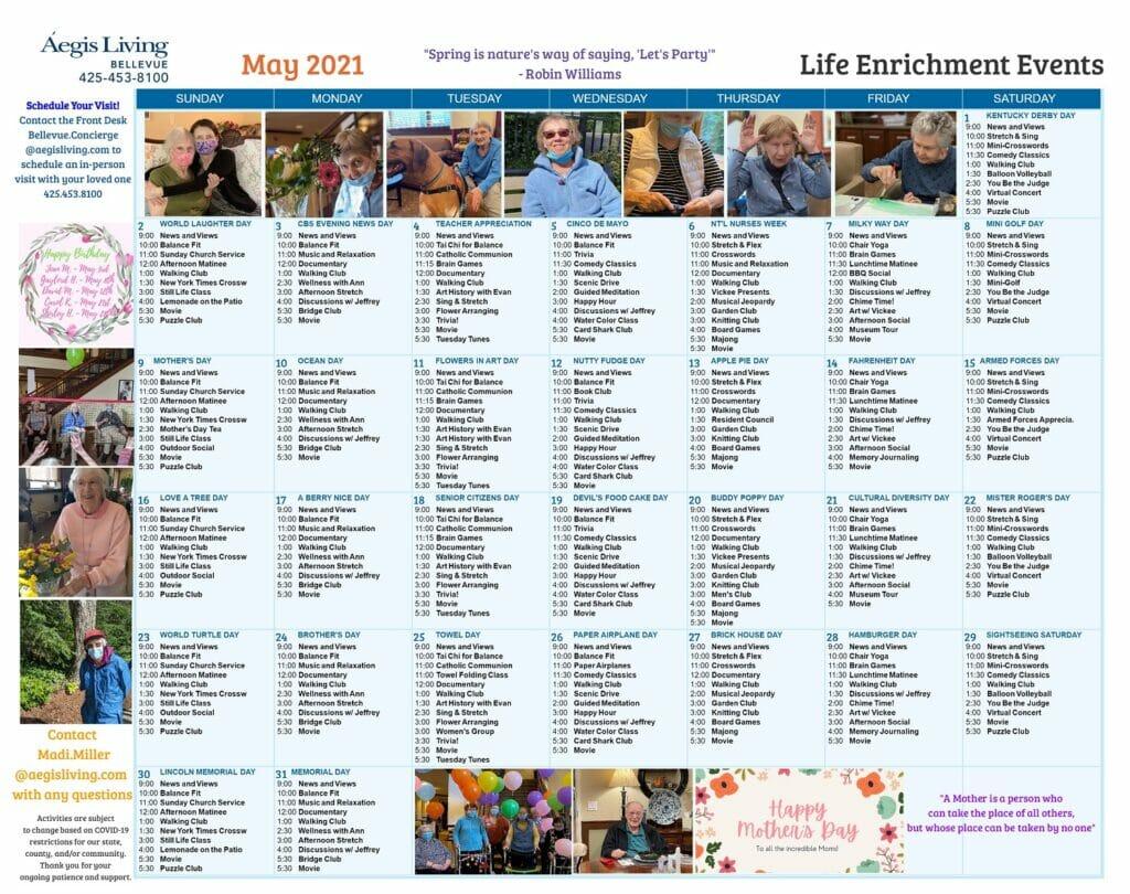 Bellevue Calendar May 2021