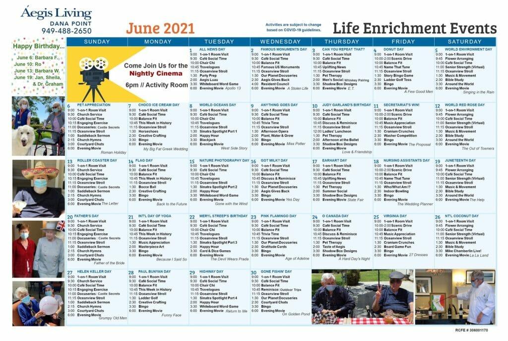 Dana Point Calendar June 2021