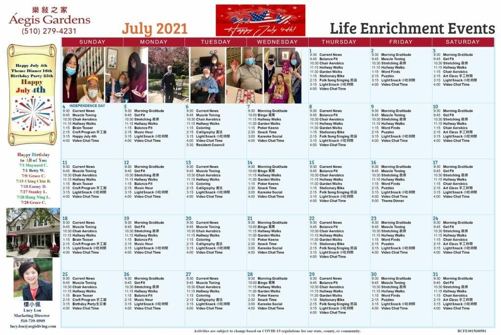 Aegis Gardens Calendar-July 2021