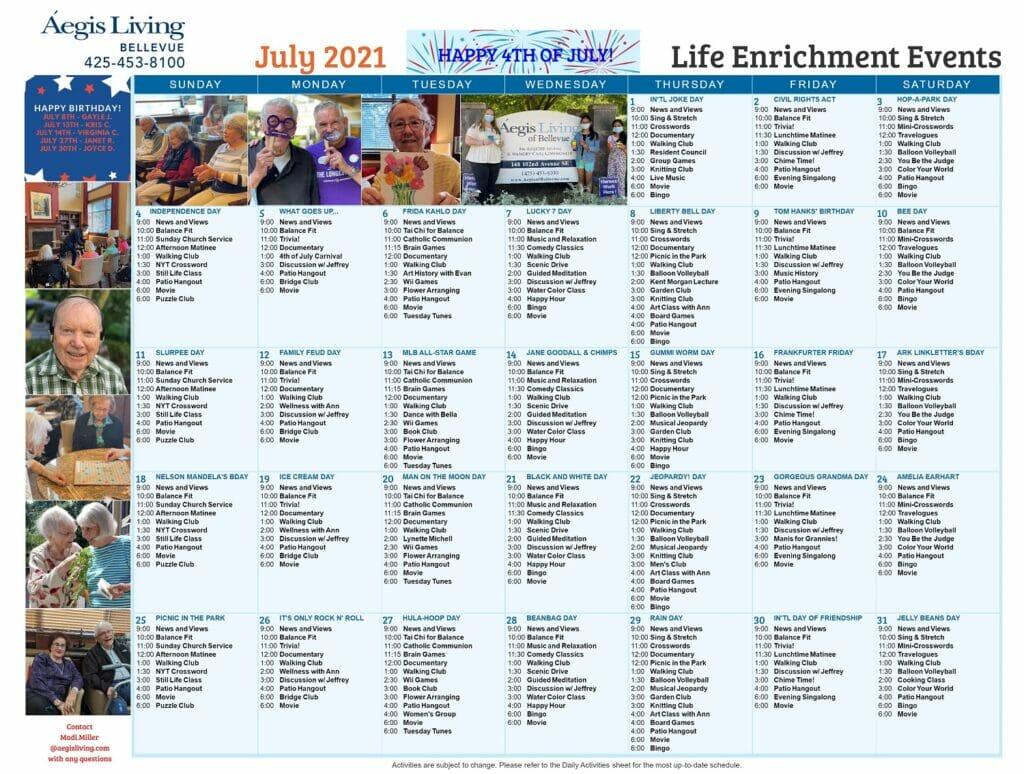 Bellevue AL - July 2021 Calendar