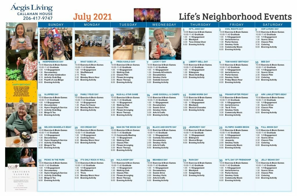 Callahan LN - July 2021 Calendar