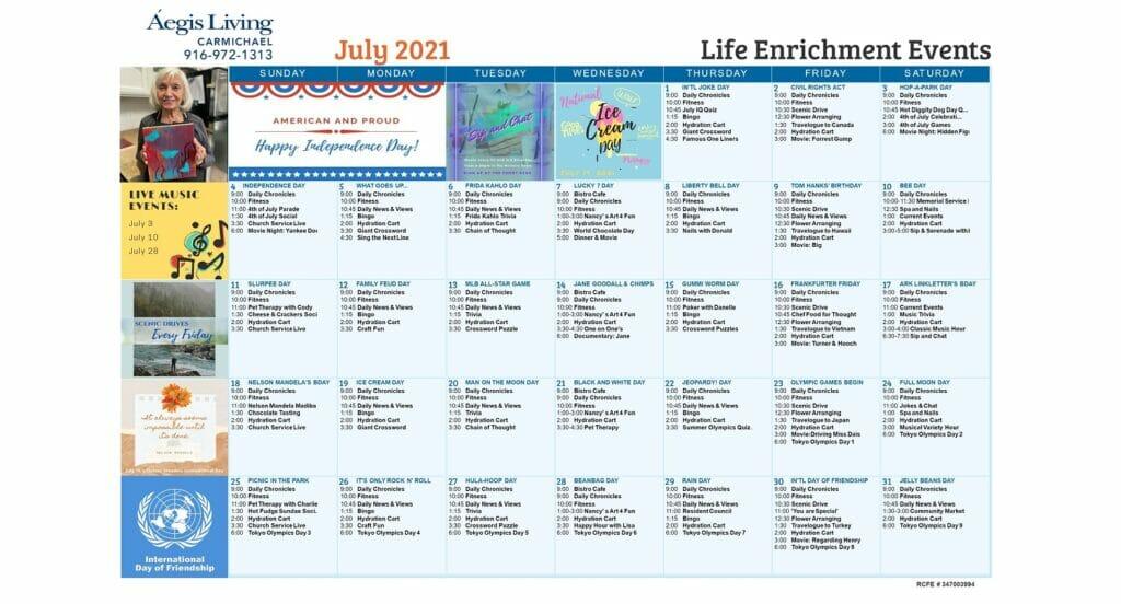 Carmichael AL July 2021 Calendar