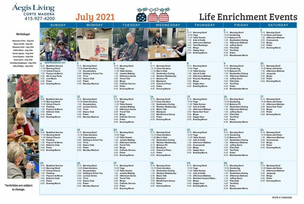Corte Madera LE Calendar July 2021 AL