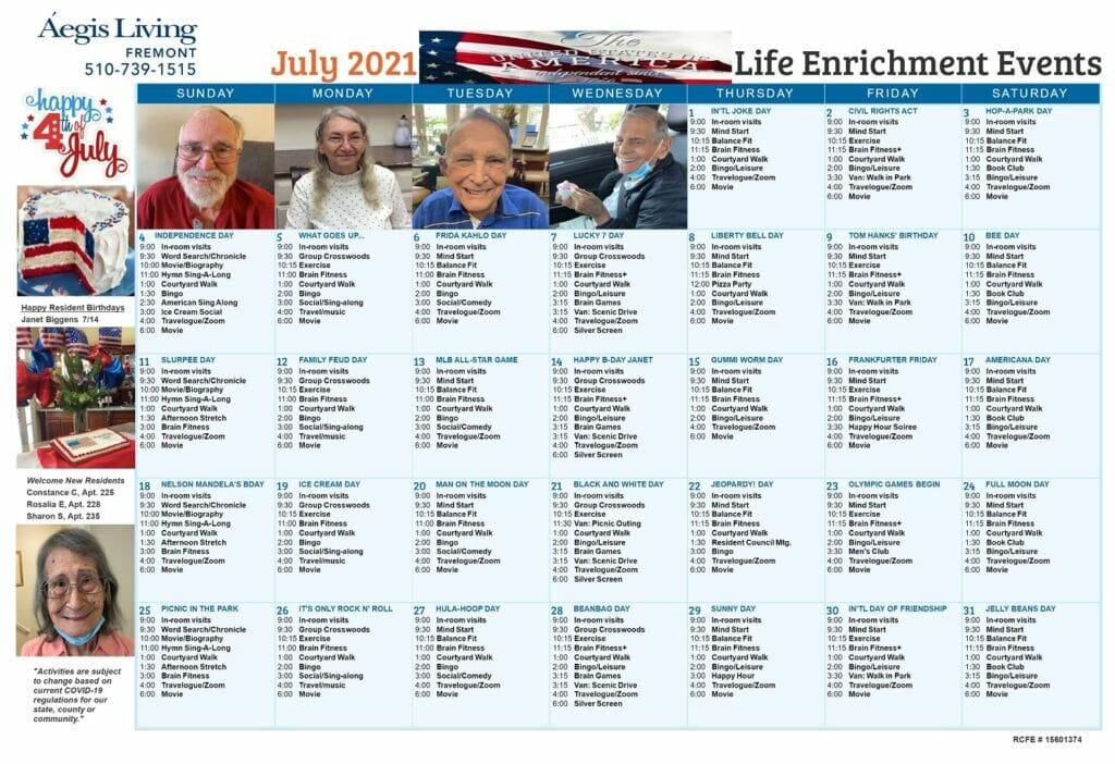 Fremont AL July 2021 Calendar