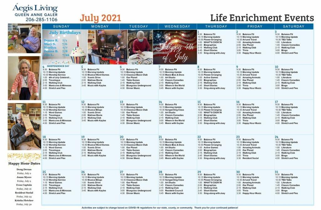 Galer AL - July 2021 Calendar