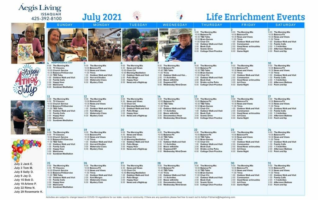 Issaquah AL July 2021 Calendar
