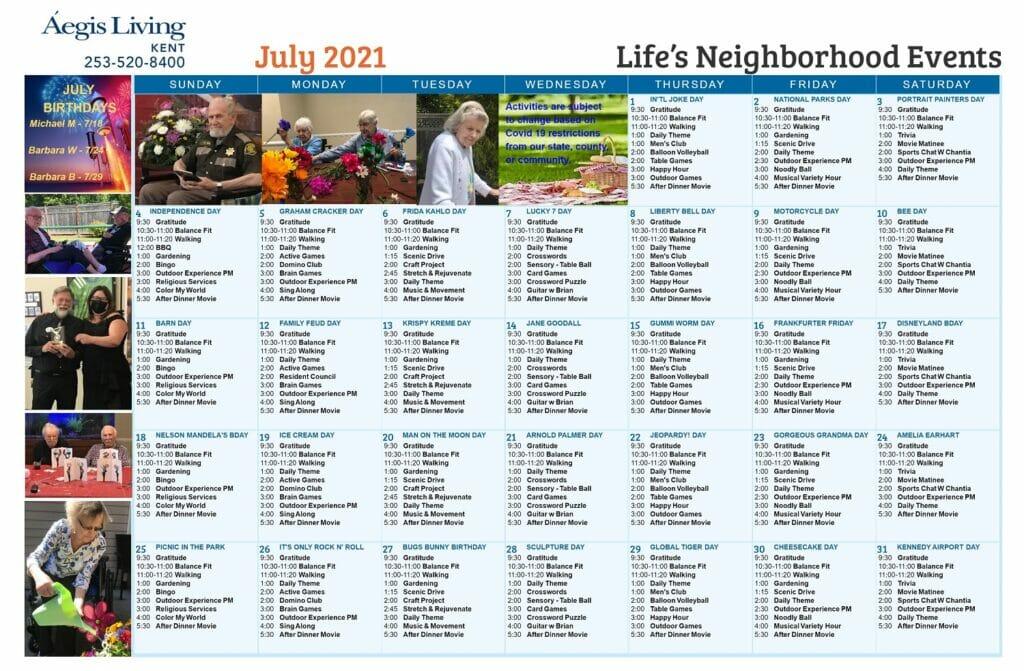 Kent LN July 2021 Calendar