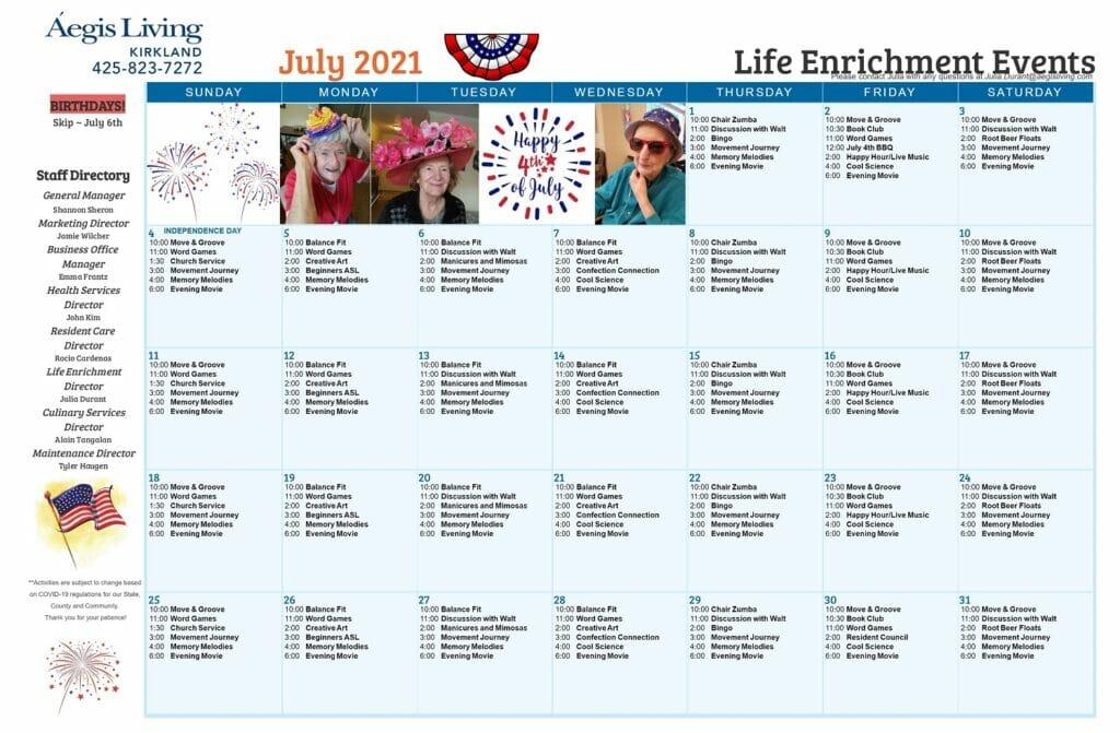 Kirkland AL _ July 2021 Calendar