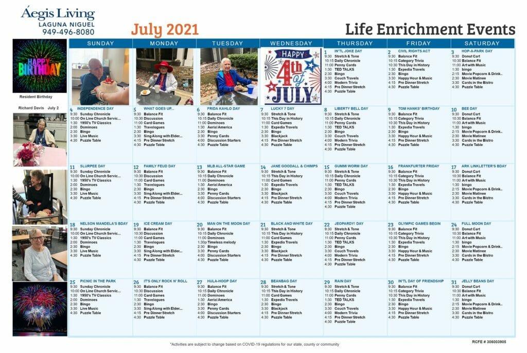 Laguna Niguel AL july 2021 Calendar