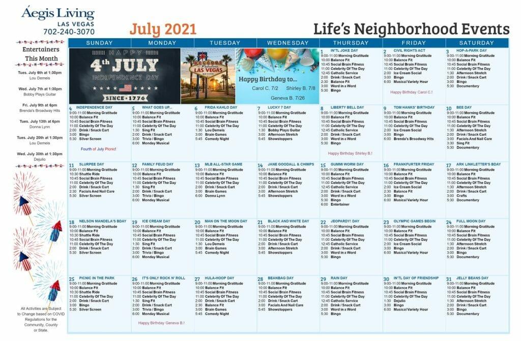 Las Vegas July 2021 LN Calendar
