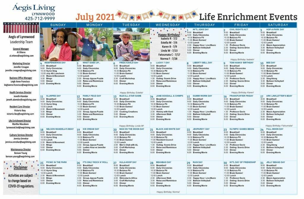 Lynnwood AL July 2021 Calendar