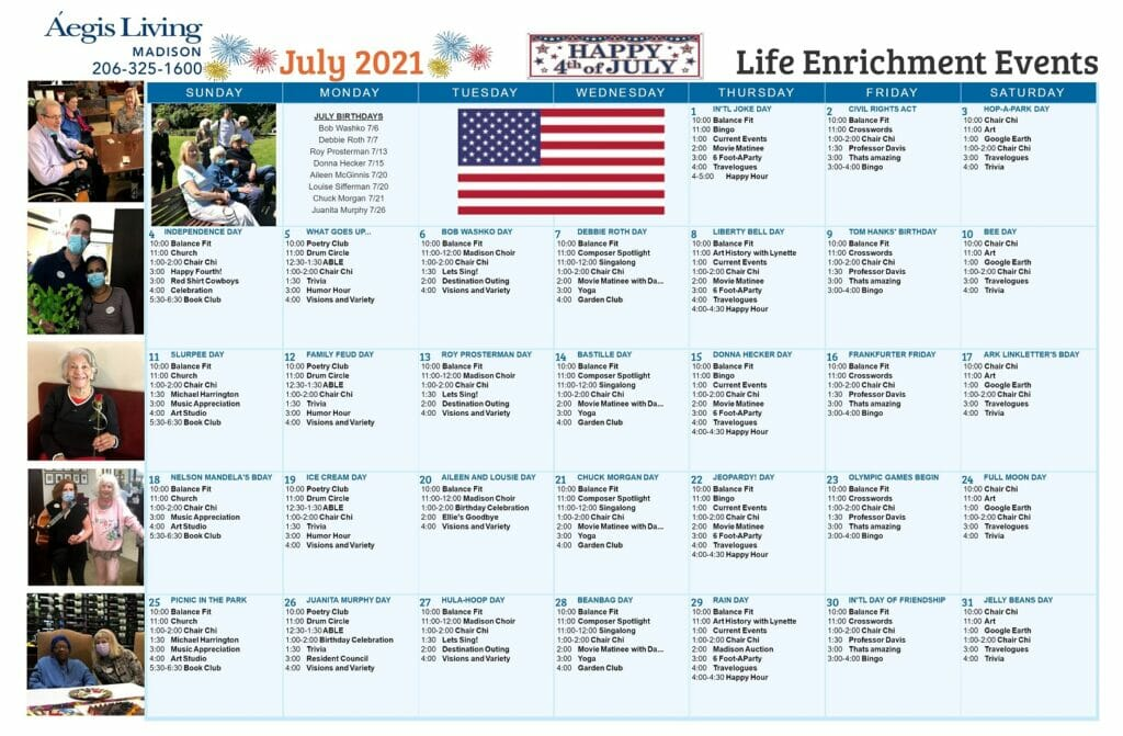 Madison AL July 2021 Calendar