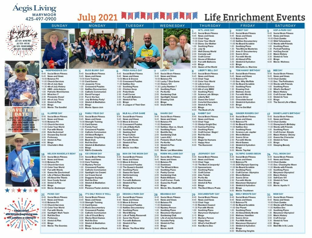 Marymoor AL July 2021 Calendar