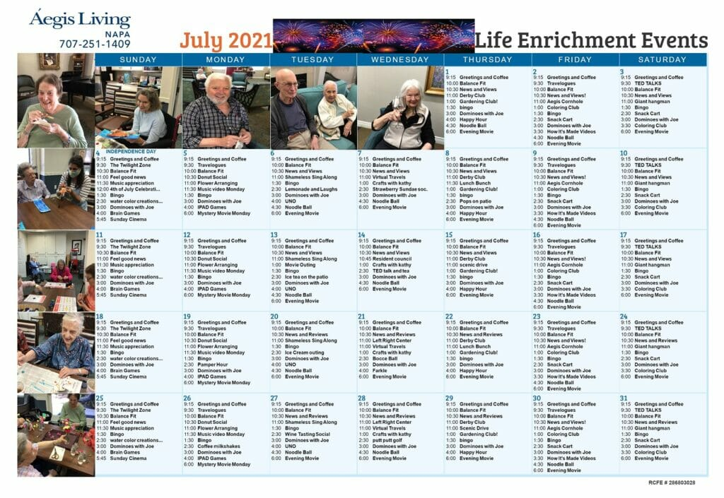 Napa - July 2021 AL Calendar