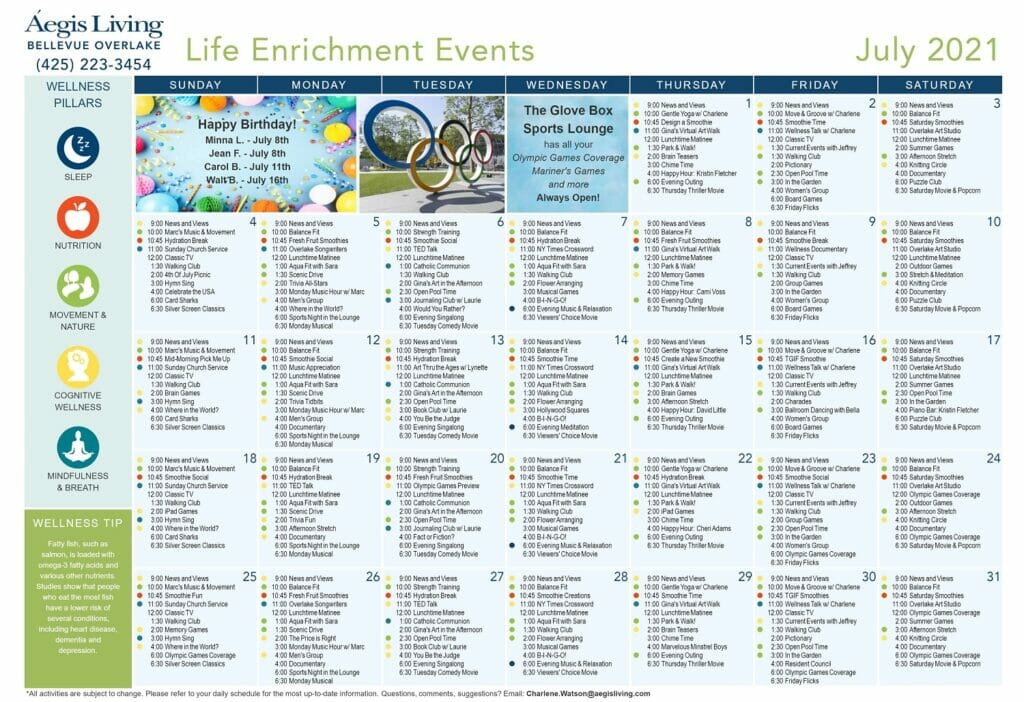 Overlake AL Wellness Calendar - July 2021