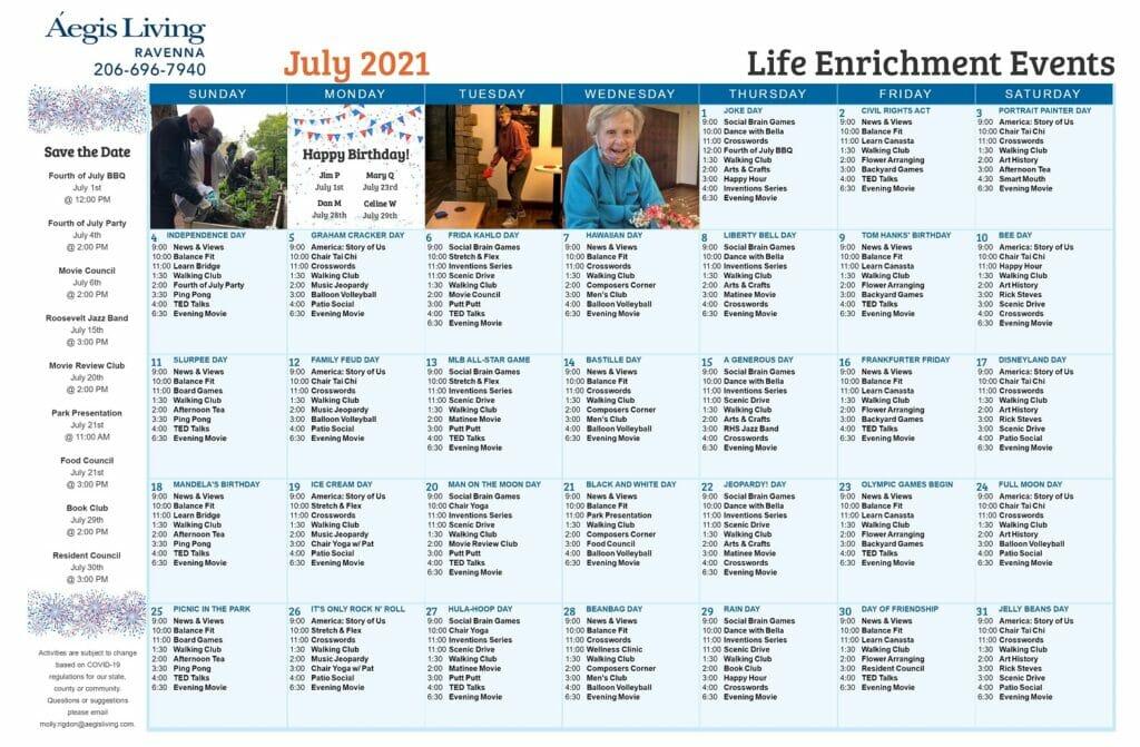 Ravenna AL Calendar - July 2021