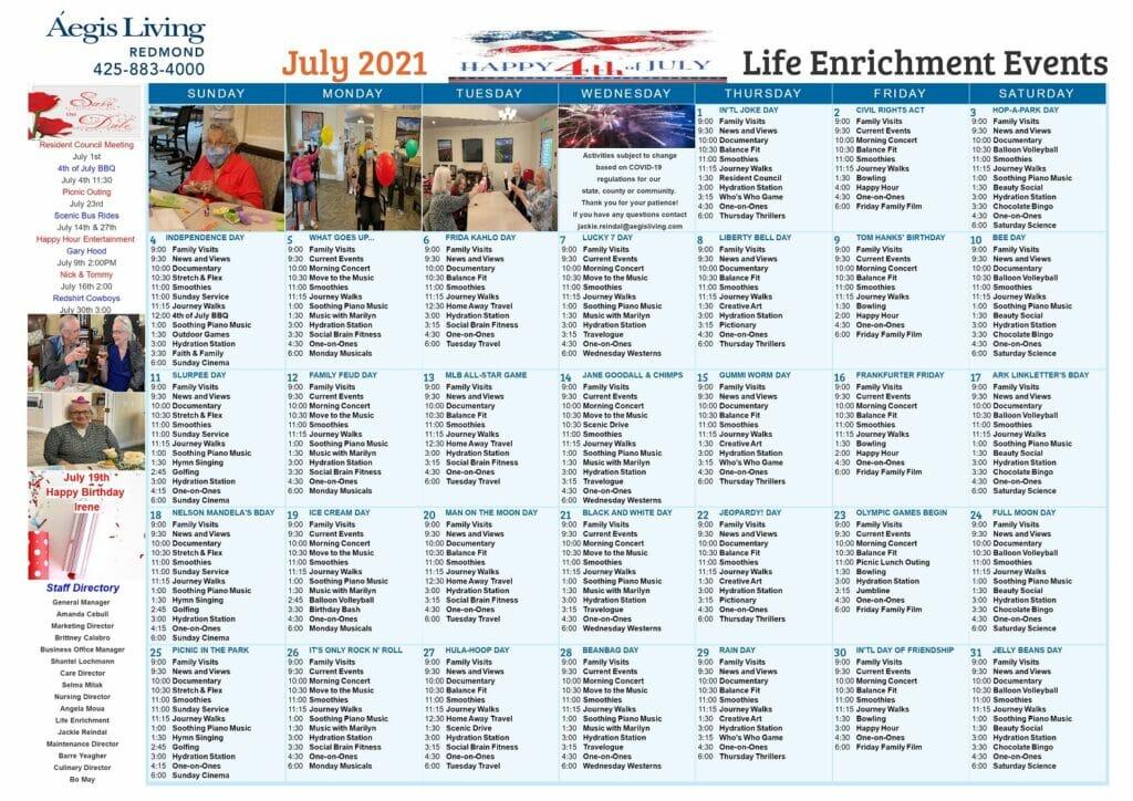 Redmond AL Calendar July 2021