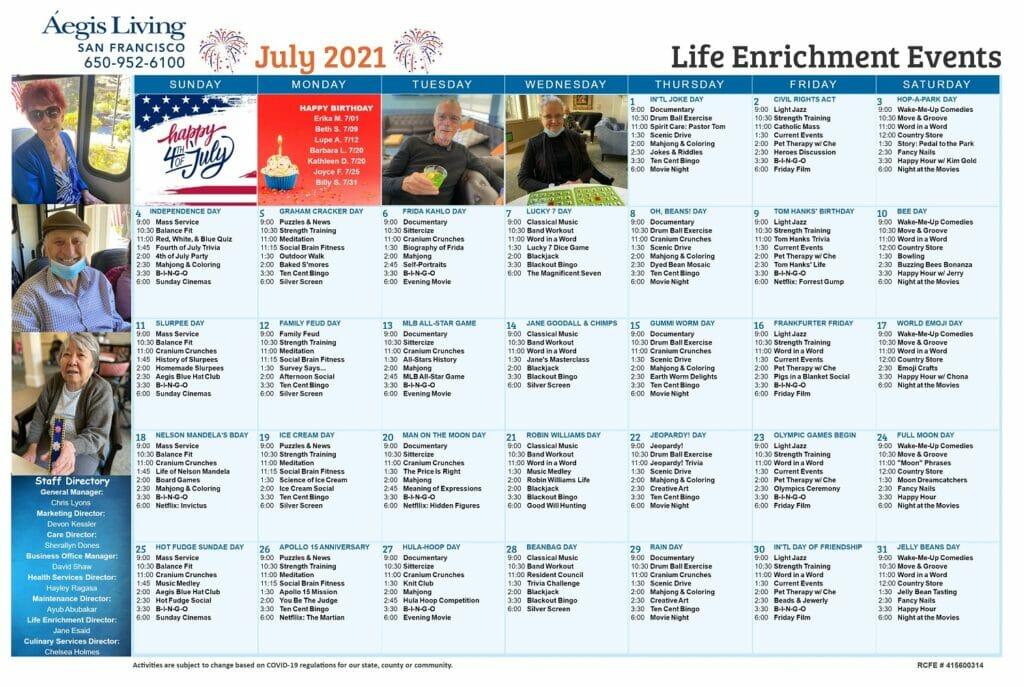 San Francisco AL Calendar- July 2021