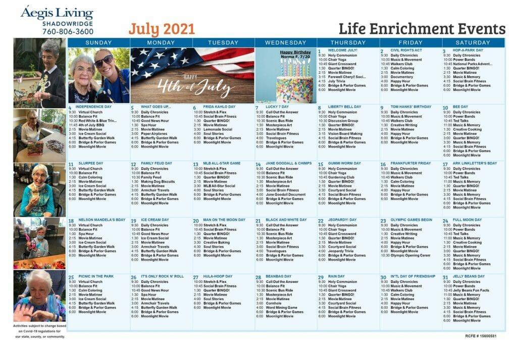 Shadowridge AL July 2021 Calendar