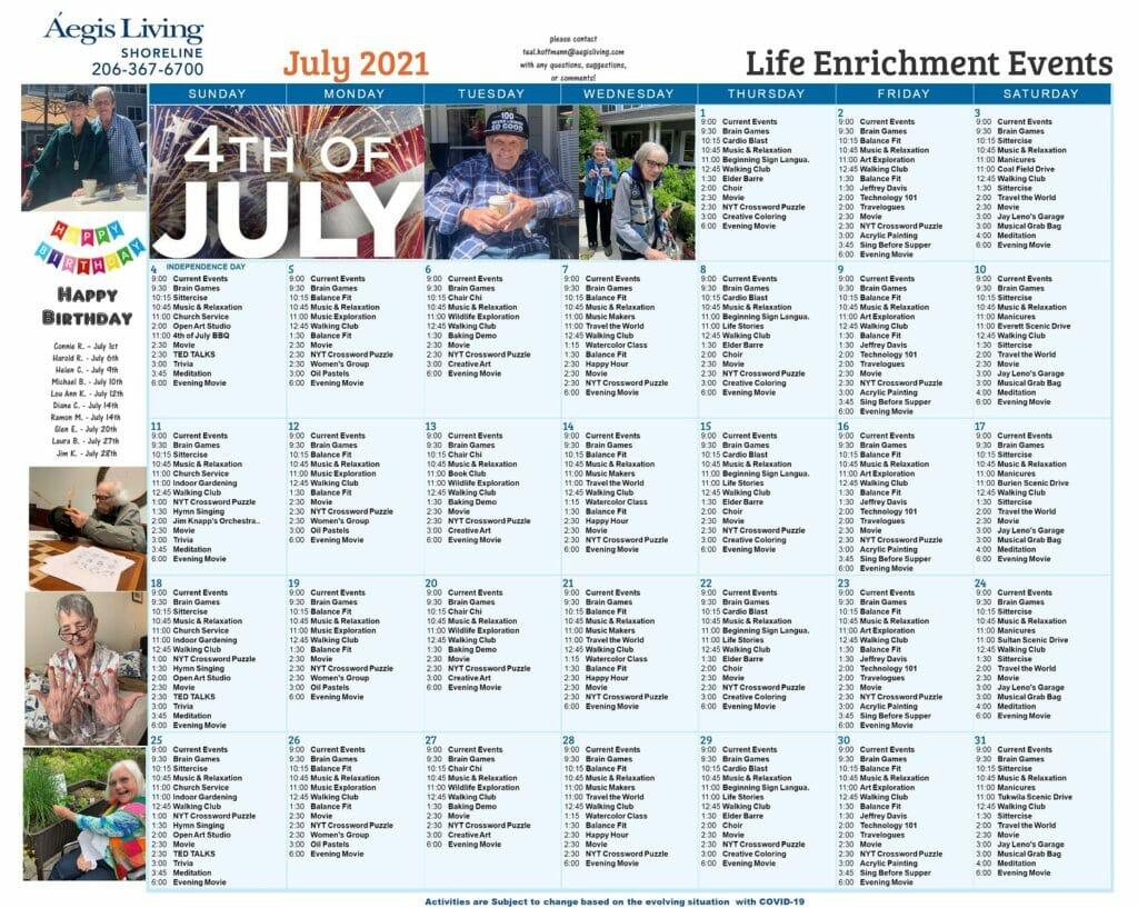 Shoreline AL - July 2021 Calendar