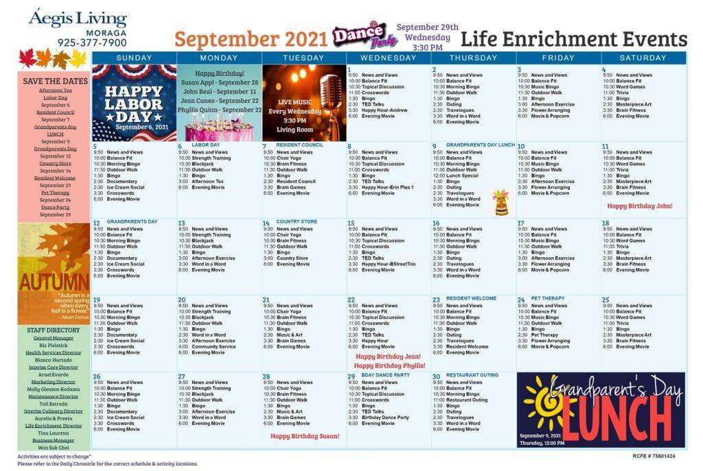 Moraga Calendar September 2021