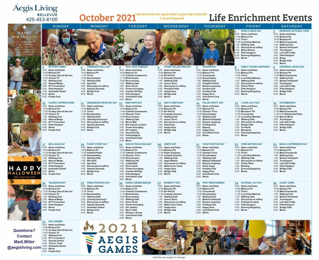 Bellevue Calendar October 2021