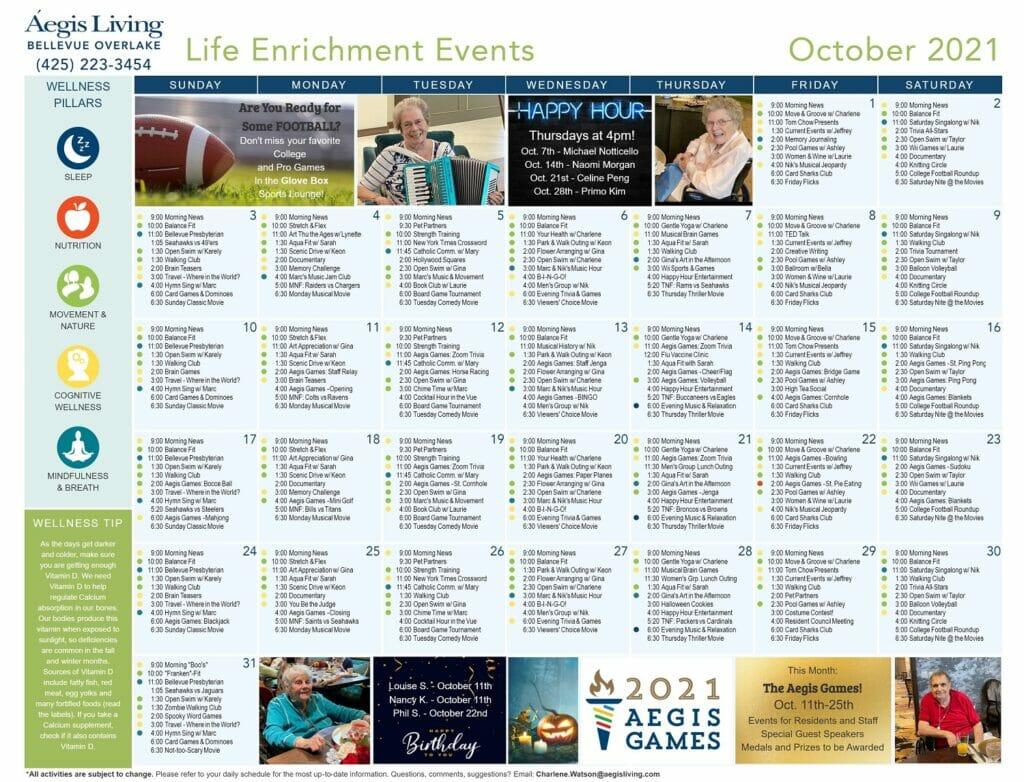 Bellevue Overlake Wellness Calendar October 2021