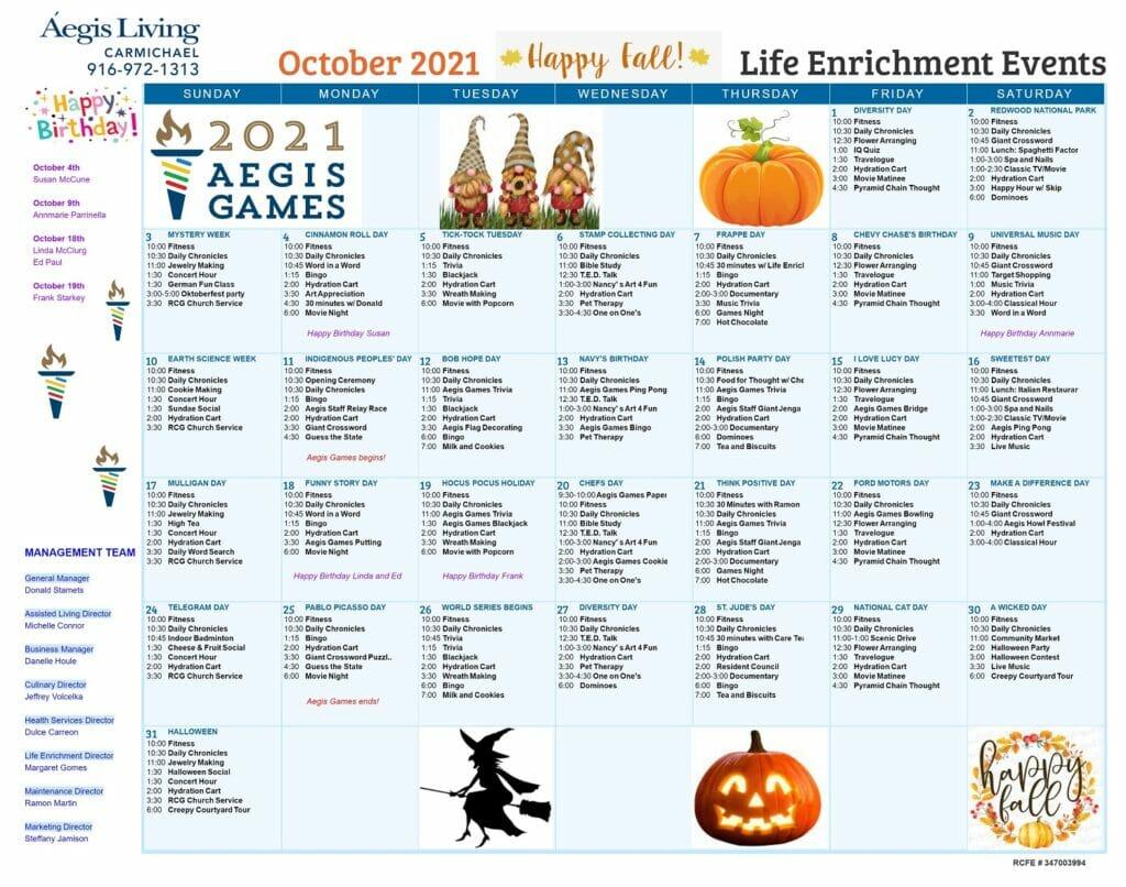 Carmichael Calendar Oct 2021 calendar