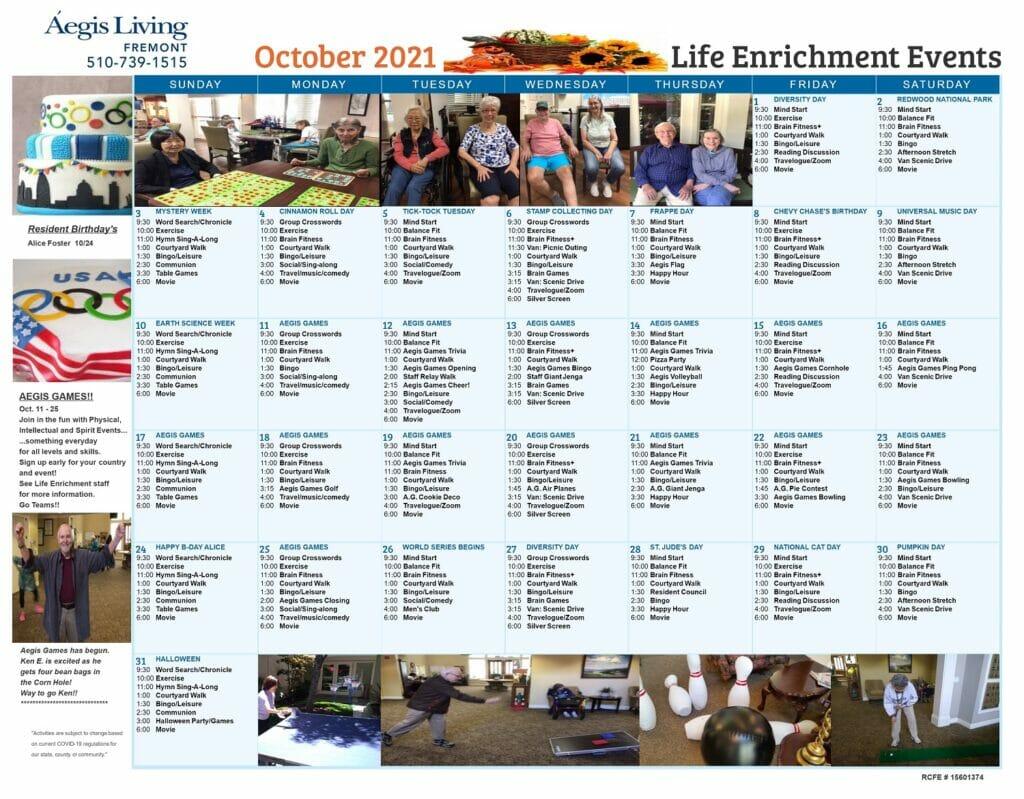 Fremont October 2021 Calendar