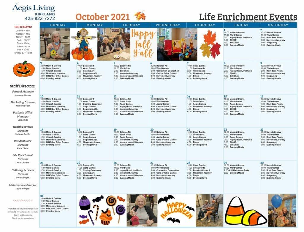 Kirkland Oct 2021 Calendar