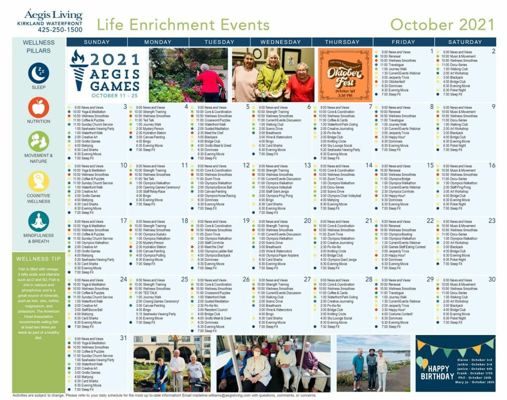Kirkland Waterfront Calendar October 2021