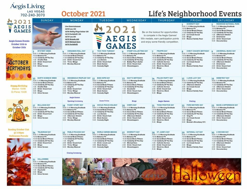 Las Vegas Calendar October 2021