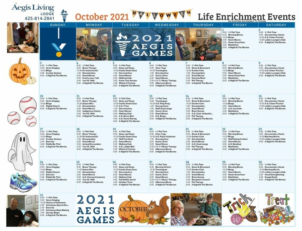 Lodge Calendar October 2021