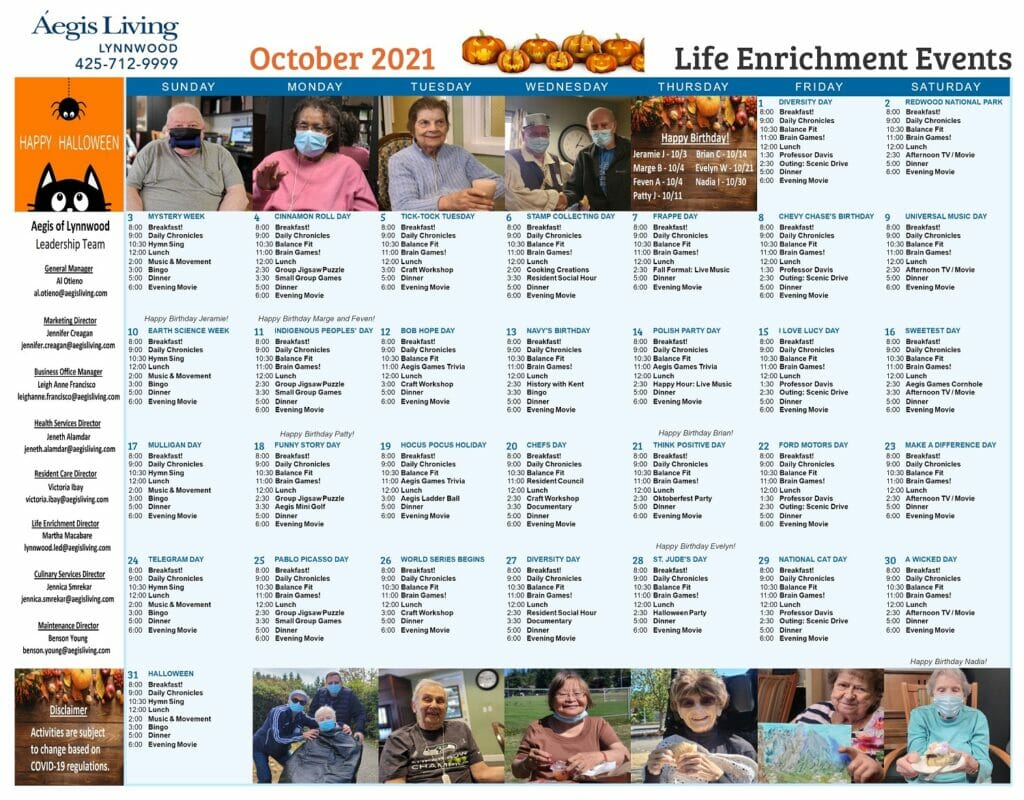 Lynnwood Calendar October 2021