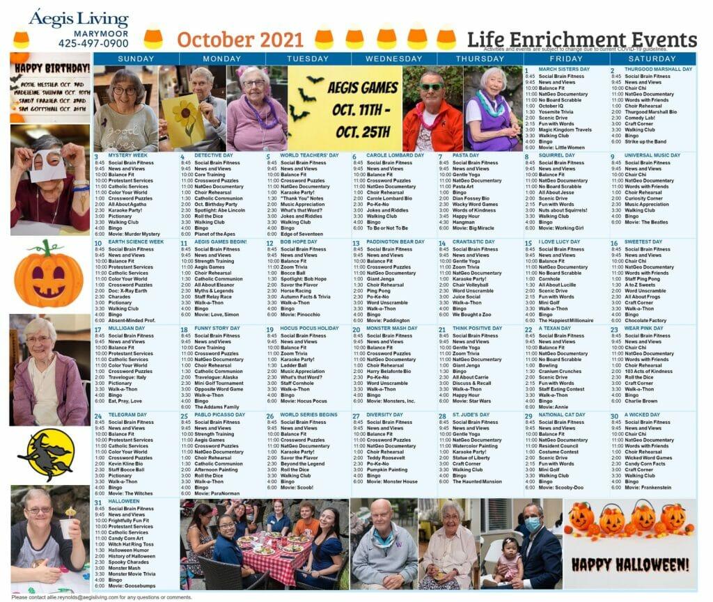 Marymoor Calendar October 2021
